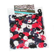 Bling Online Value Bag of Girls Mini Hair Ponio Elastics, Red, White, Black & Navy Blue Mix.