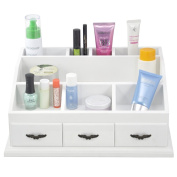 Tinxs® White Wooden Dressing Table Tidy Makeup Organiser Drawers Jewellery Display Storage Box Cases