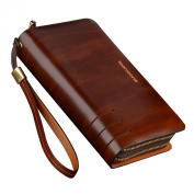 Teemzone Mens Genuine Leather Clutch Bag Handbag Organiser Chequebook Wallet Card Case