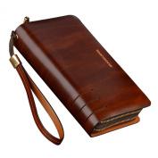 Teemzone Mens Genuine Leather Clutch Bag Handbag Organiser Chequebook Wallet Card Case