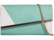 Womens Ladies Faux Leather Two Tone Prom Party Evening Dressy Occasion Bridesmaid Hand Clutch Bags - O20