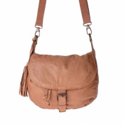 Washed shoulder bag vintage leather with flap and coulisse DUDU Nut Brown