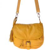 Washed shoulder bag vintage leather with flap and coulisse DUDU Saffron Yellow