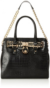 MG Collection Haley Classic Gold Studded Structured Satchel