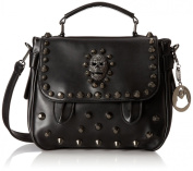 MG Collection Ming Gothic Skull Studded Structured Shoulder Bag, Black, One Size
