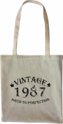 Mister Merchandise Tote Bag Vintage 1987 - Aged to Perfection 28 29 Shopper Shopping , Colour