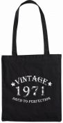 Mister Merchandise Tote Bag Vintage 1971 - Aged to Perfection 44 45 Shopper Shopping , Colour