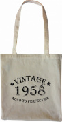 Mister Merchandise Tote Bag Vintage 1958 - Aged to Perfection 57 58 Shopper Shopping , Colour