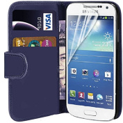 Connect Zone® Samsung S4 i9500 PU Premium Flip Wallet Case Cover Pouch + Screen Protector With Polishing Cloth