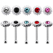 Pack 5 Pcs Mix Colour Jewelled Sunflower 22 Gauge Sterling Silver Ball End Nose Stud Nose Pin