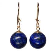 10mm Genuine Lapis Lazuli Bead / Ball / Sphere 9ct / 9k Yellow Gold Drop / Dangle Earrings Pair