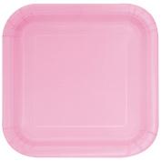 Unique Party 23 cm Square Lovely Pink Party Plates