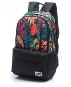 Fshion Leaf Pattern Canvas Backpack Students School Bag 36cm - 38cm Laptop Backpack for Teenage Girls and Boys