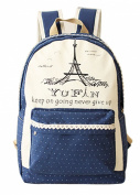 Women's Girl's Canvas Haversack Dot Print School Bag 36cm - 38cm Laptop Knapsack (Blue