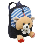 28cm Kids Pink Novelty Lightweight School Backpack w/ Removable Plush Teddy Bear