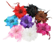 BONAMART ® 8 pcs Woman Lady Girl Brooch Corsage Hair Clips Accessories Feather Flower For Wedding Party