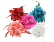 BONAMART ® 5 pcs Woman Lady Girl Brooch Corsage Hair Clips Accessories Feather Flower For Wedding Party