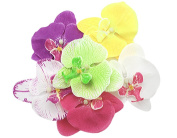 BONAMART ® 6 pcs Woman Lady Girl Brooch Corsage Hair Clips Accessories Orchid Flower For Wedding Party