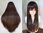 """Anogol® Vocaloid 32"""" 80cm Straight Lolita Brown Cosplay Wig Kanekalon Costume Long Party Wigs for Women"""