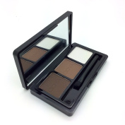 Ucanbe 3 Colours Waterproof Eyebrow Powder/Shadow Palette with Double Sided Brush,#1