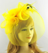 Yellow Mesh Floral Net Black Feather Bead Fascinator with PreciousBags Dust Bag