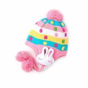Fashion Base Origin Creation Baby Infant Boy Girl Knit Beanie Pom Pom Hat Cap Rabbit Ear Earmuff Pink