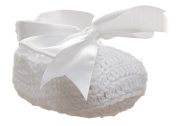Paisley of London, Baby Girls White Christening Shoes, Christening Gifts, Crochet Shoes, Bow Shoes