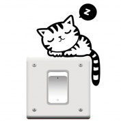 Cute Cat Nap Pet Vinyl Light Switch Wall Decal Stickers, Black