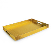 Accents by Jay Rectangle Tray, Gold Alligator