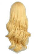 Women's Wavy Curly Long Fibre Cosplay Wig Halloween Party Hair 70cm Gold Blonde