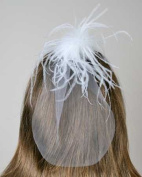 Darice VL2755 Just For The Girls Plume Feather Hair Clip Veil, White