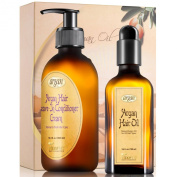 Hair Styling Anti Frizz Argan Kit - Normal to Thick Hair Care - Moroccan Leave In Conditioner Cream 300ml and Hair Oil 100ml Frizzy Hair Volume Control Moisturising Set