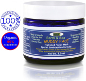Earth & Sea MUDDY FACE Pre-Mixed (Hydrated) Spa Like Facial Clay Mask, Kaolin & Bentonite Clay, Kelp & Spirulina Seaweed, Vit. C, Trace Vit. & Minerals, Organic Aloe Vera, Grapeseed Oil, 60ml Jar.