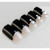 Bling Art False Nails French Manicure Black Crystal Full Cover Medium Tips UK