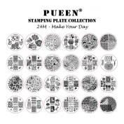 PUEEN Nail Art Stamp Collection Set 24M - Make Your Day - NEWEST Unique Set of 24 Nailart Polish Stamping Manicure Image Plates Accessories Kit (Totaling 144 Images) with BONUS Storage Case