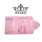PUEEN Pink Crocodile 11 Pcs Stainless Steel Manicure & Pedicure Kit, Travel & Grooming Set, Personal Care Tools in Pink Roll Up Vegan Leather Case-BH000010