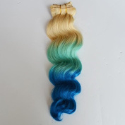 30cm -80cm Brazilian Human Virgin Remy Ombre Hair Clip in on Hair Extension 100%human hair 3T /613/cyan/blue Body Wave 100g/bundle