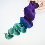 30cm -80cm Brazilian Human Virgin Remy Ombre Hair Clip in on Hair Extension 1b/blue/cyan Body Wave 100g/bundle