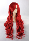 Weeck Anime Long Curly Lolita Red Wave Costume Cosplay Wigs