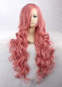 Weeck Luka Long Curly Synthetic Hair Pink Lolita Costume Cosplay Wigs