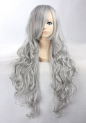 Weeck Long Curly Synthetic Hair Silver Grey Lolita Costume Cosplay Wigs