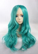 Weeck Long Blue Synthetic Sailor Neptune Curly Costume Cosplay Wigs