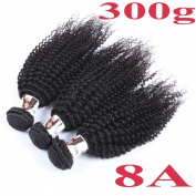 BHD 8A 3 Bundles 300g Brazilian Unprocessed Human Remy Virgin Hair Extensions Hair Weft Kinky Curly Natural Black 8-26