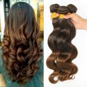 Fashion a Plus (TM) Brazilian Body Wave Natural Human Hair Ombre Hair Extensions Weave Weft 3 Bundles/lot 300g Total (100g Each) #T4/30 7A Grade
