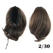 Short Wavy Hair Bun Synthetic Hair Extensions Drawstring Ponytail Little Pony