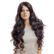 Female Glamoroursdark Bown Long Wave Wig Mannequin Head Hair D3213
