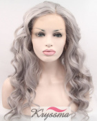 K'ryssma Grey Synthetic Lace Front Wig Half Hand Tied Heat Resistant Fibre Hair Long Wavy T4503