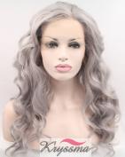 K'ryssma Grey Synthetic Lace Front Wig Half Hand Tied Heat Resistant Fibre Hair Long Wavy T4503