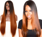 Ebingoo Black Root Ombre to Brown Straight Hair Heat Resistant Synthetic Lace Front Wig Half Hand Tied JLS004