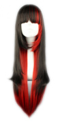 Toptheway Lolita Hair Long Silky Straight Black Mixed Red Costume Synthetic Wig
